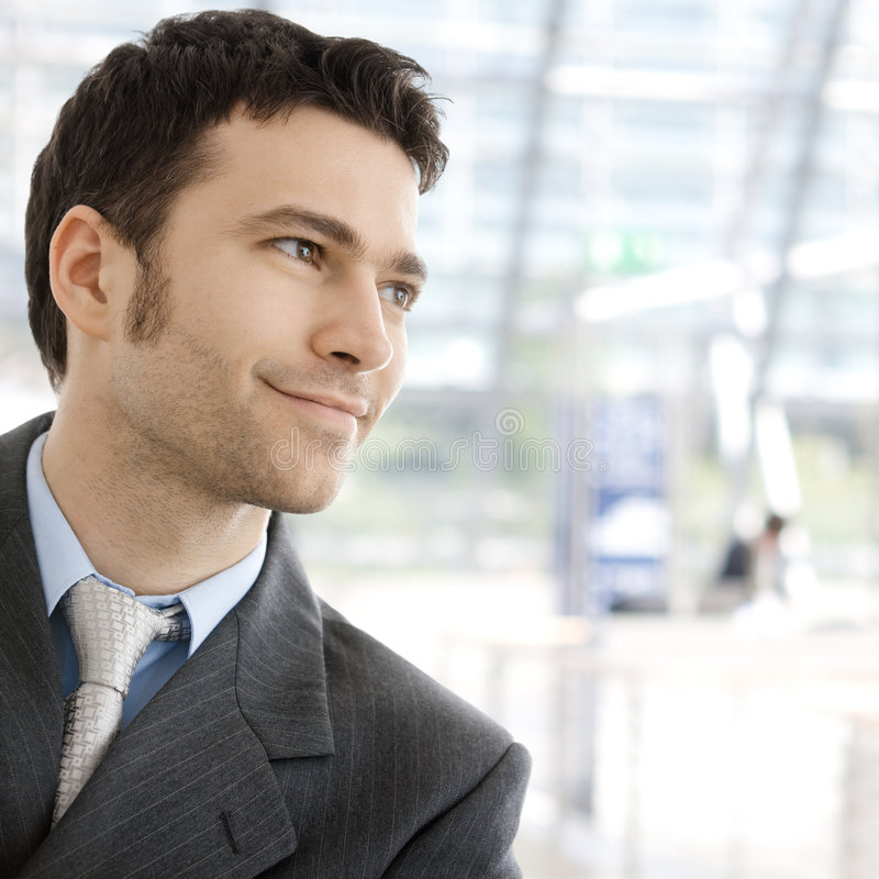 Happy businessman smiling stock photos
