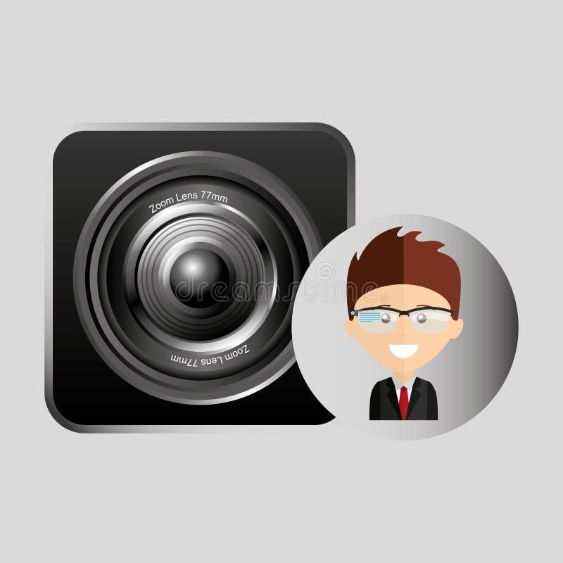 Happy businessman speaker network media icon. Vector illustration eps 10 stock illustration
