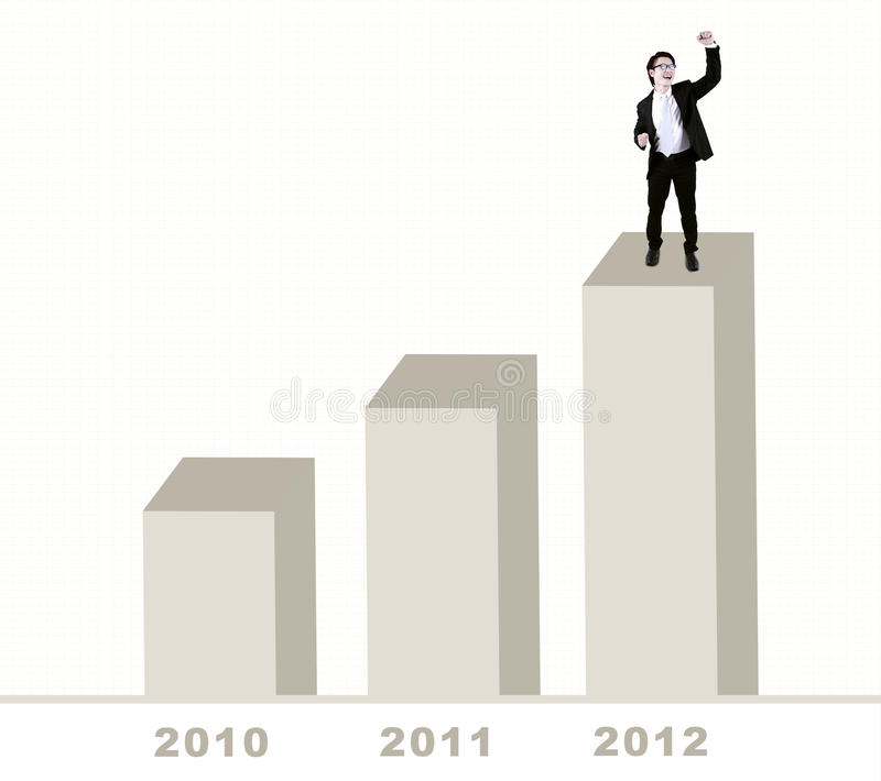 Download Happy Businessman Standing On Bar Chart Stock Image - Image: 22632705