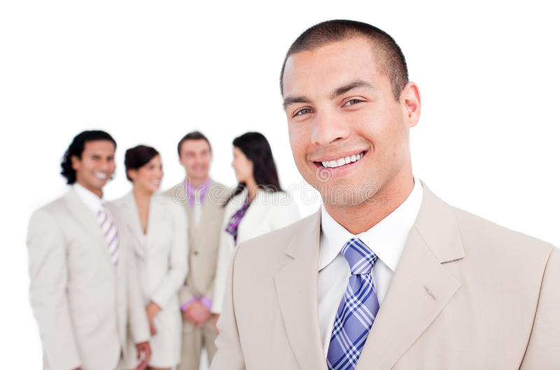 Download Happy Businessman Standing In Front Of His Team Royalty Free Stock Image - Image: 12974766