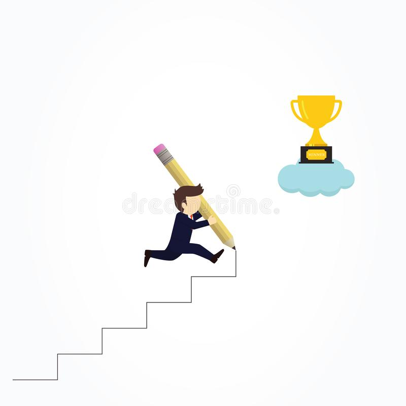 Happy businessman use pencil to create his own stair to success stock illustration