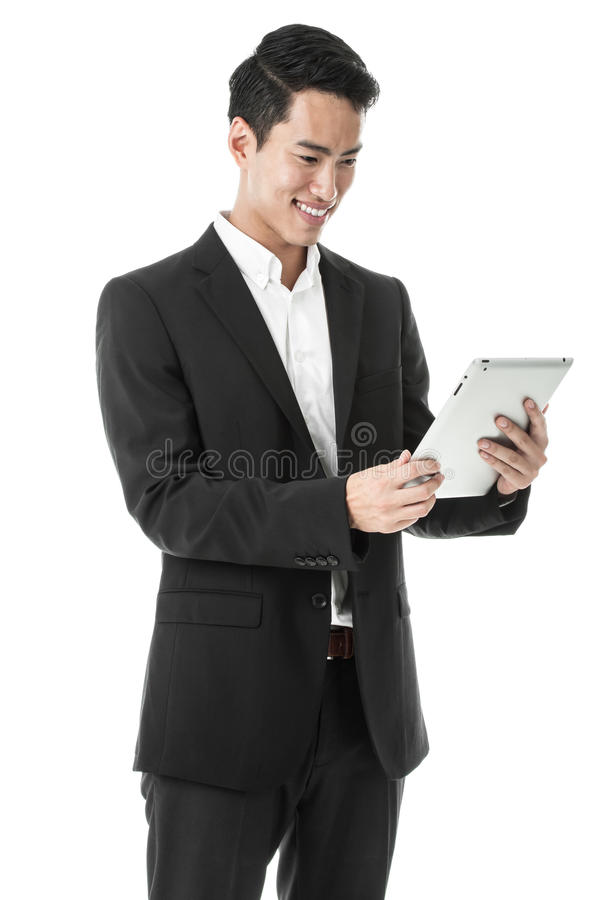 Happy Businessman using Tablet stock photos