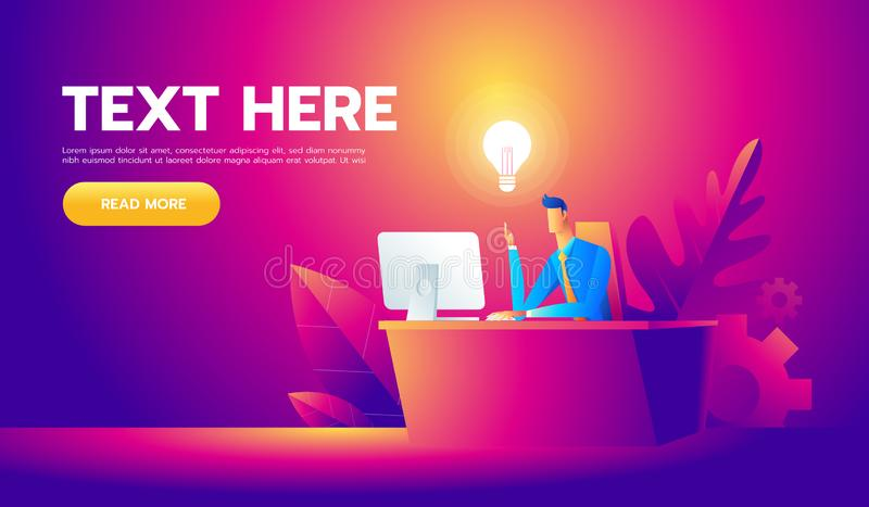 Happy businessman working at his desk and creating a lot of idea bulbs. Business idea concept stock illustration