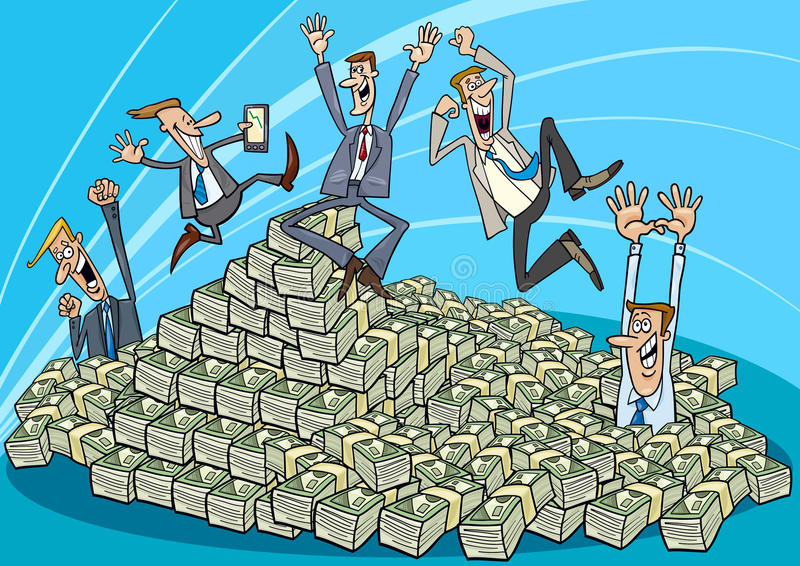 Happy businessmen and heap of money royalty free illustration