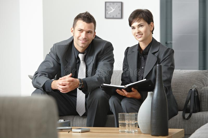 Happy businesspeople meeting at office stock photos