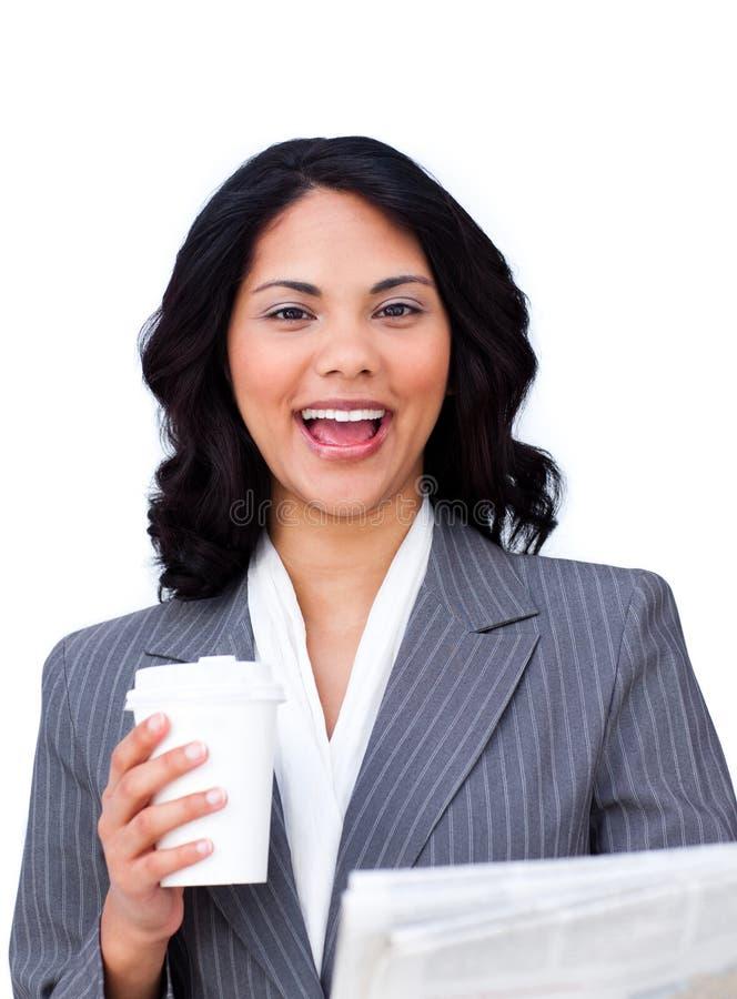 Happy businesswoman royalty free stock photo