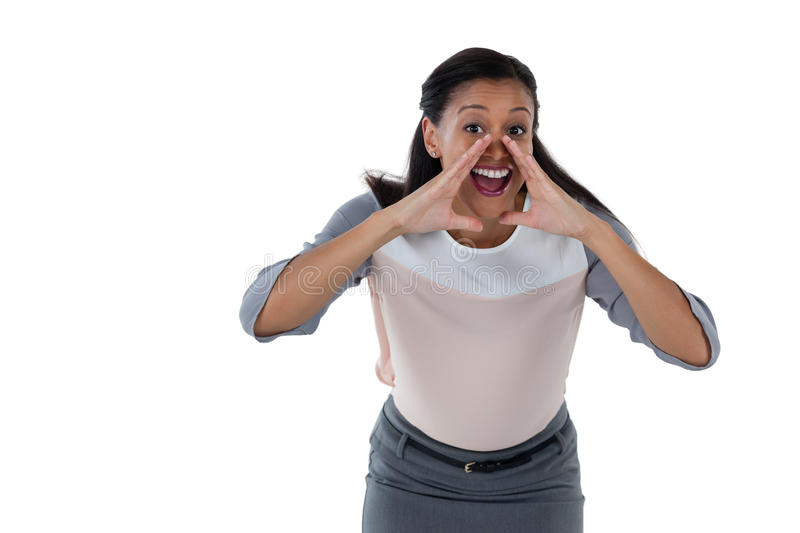 Happy businesswoman announcing a news stock photography