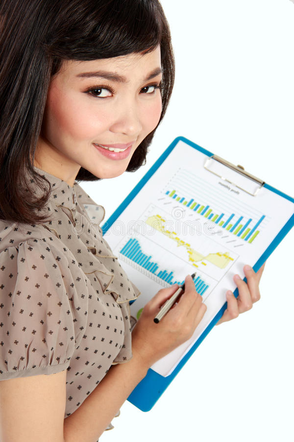Download Happy Businesswoman With Annual Report Stock Photo - Image: 30439312