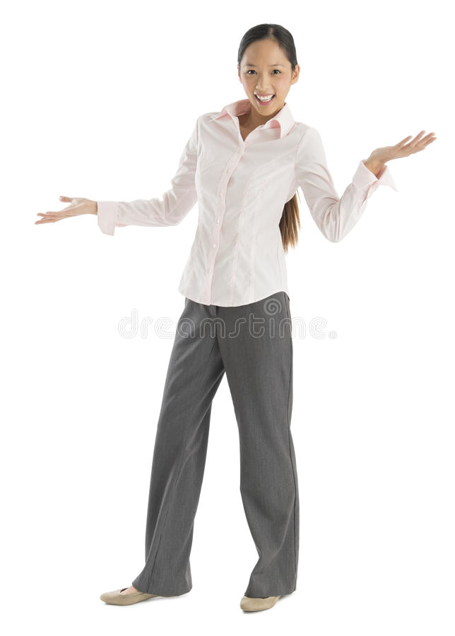 Download Happy Businesswoman With Arms Outstretched Gesturing Stock Image - Image of length, gesturing: 32278387