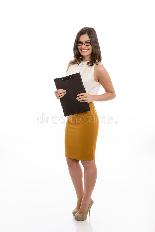 Happy businesswoman with black folder royalty free stock images