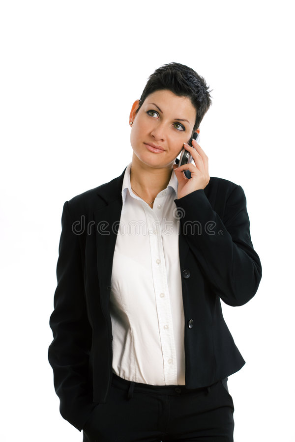 Happy Businesswoman Calling Isolated Stock Photos