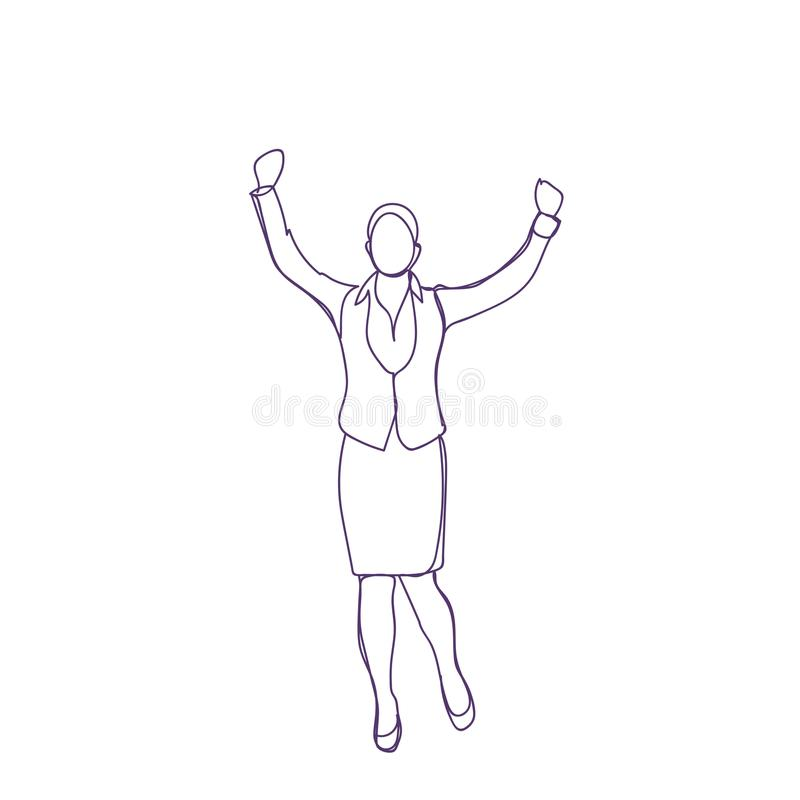 Happy Businesswoman Cheerful Female Successful Excited Silhouette Doodle On White Background stock illustration