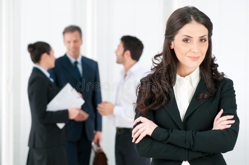 Download Happy Businesswoman With Colleagues Stock Image - Image: 17984259