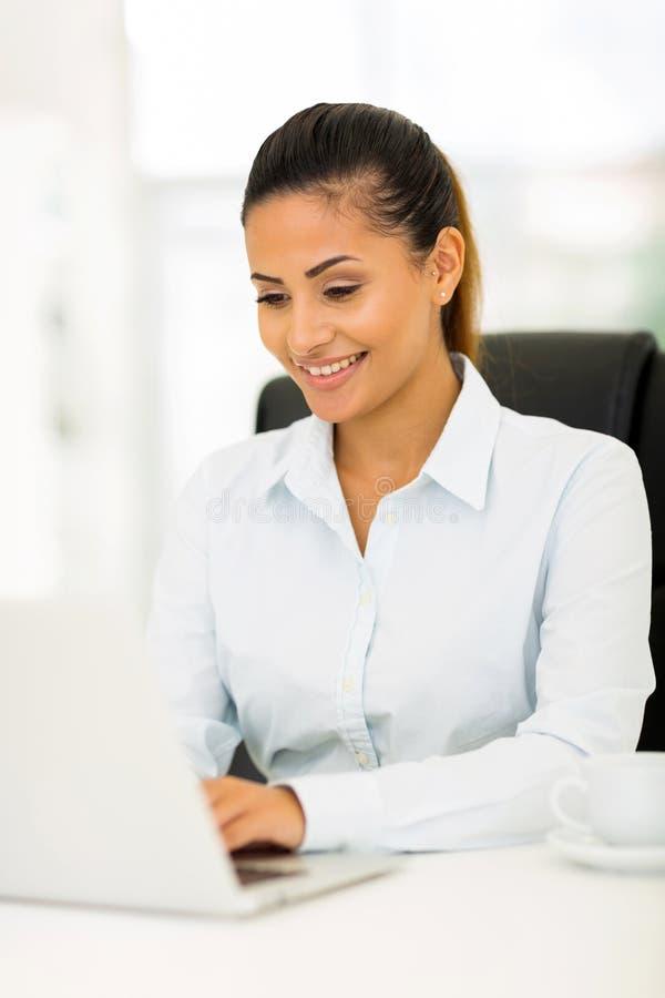 Happy businesswoman computer stock photos