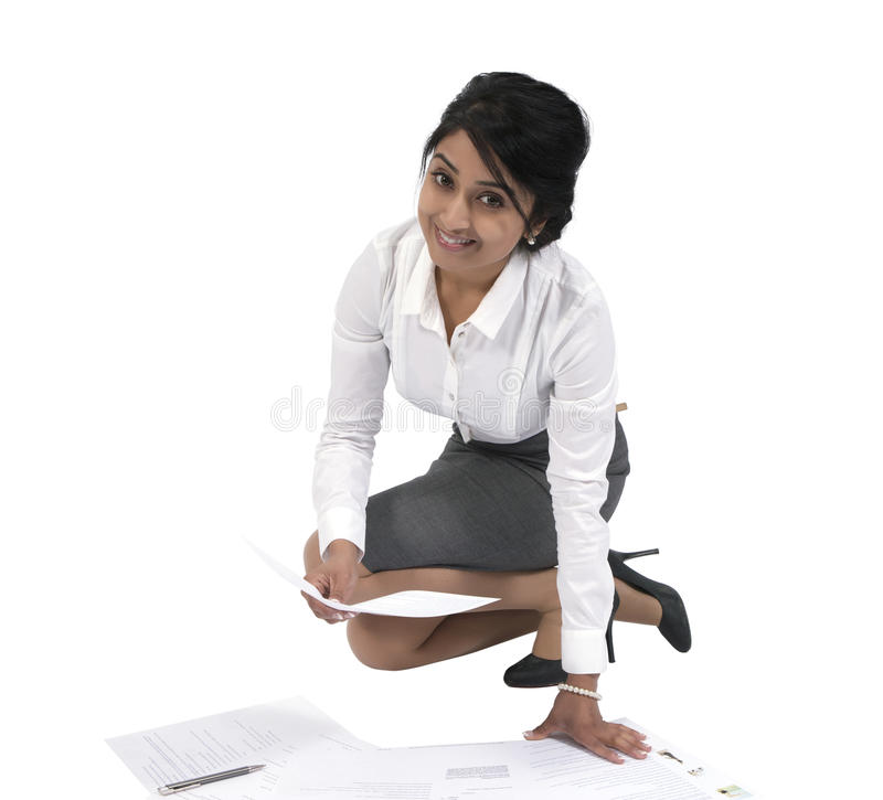Happy businesswoman with documents royalty free stock images