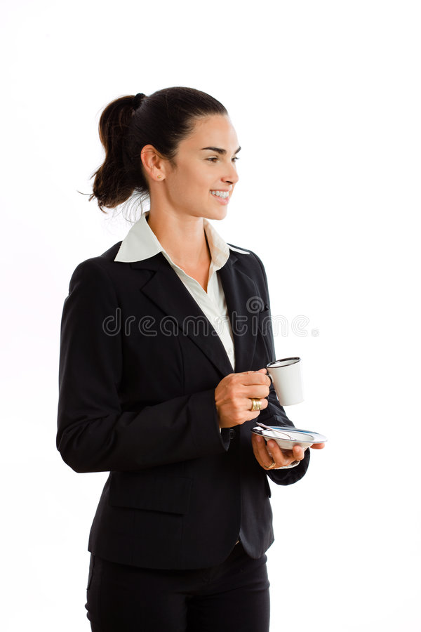 Happy businesswoman drinking coffee stock photography