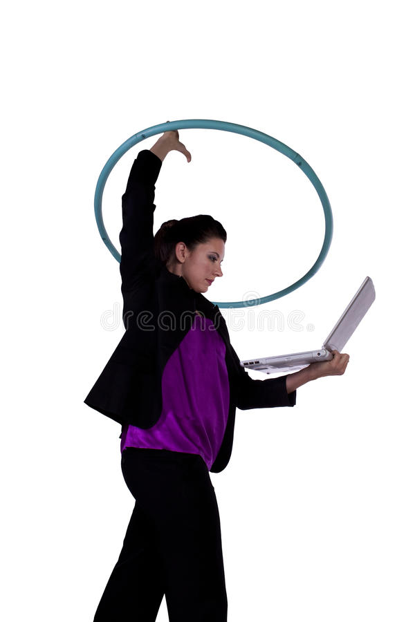 Download A Happy Businesswoman Exercising With A Hula- Hoop Stock Image - Image of isolated, wireless: 17747901