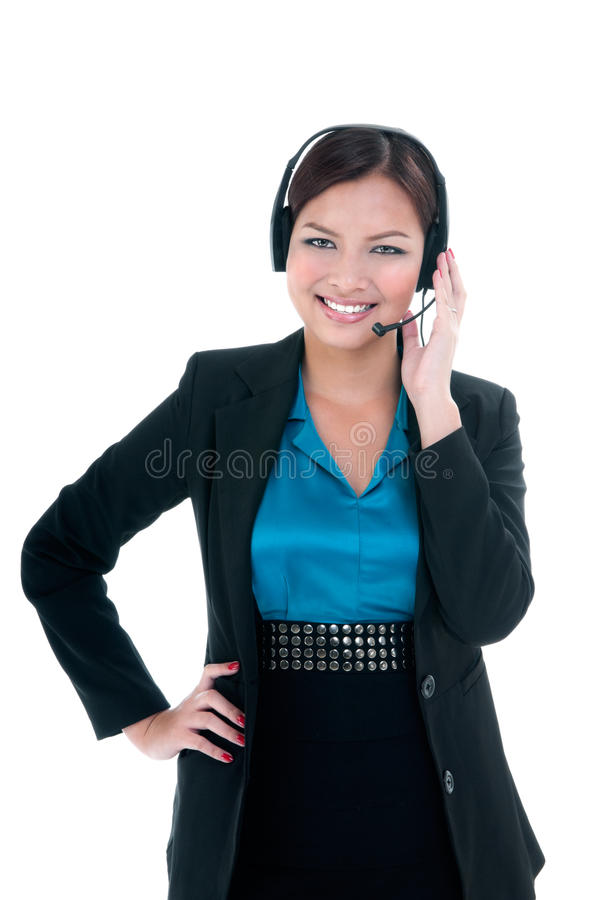 Download Happy Businesswoman With Headset Stock Image - Image: 28229055