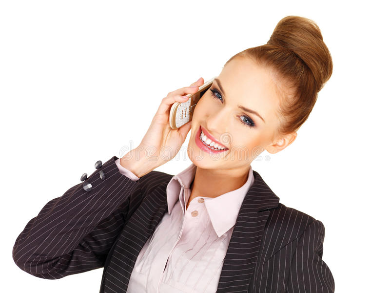 Download Happy Businesswoman On Her Mobile Stock Image - Image: 28809747
