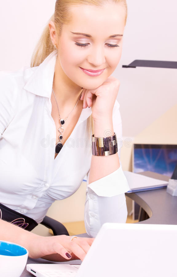 Download Happy Businesswoman With Laptop Computer Stock Image - Image: 41453897