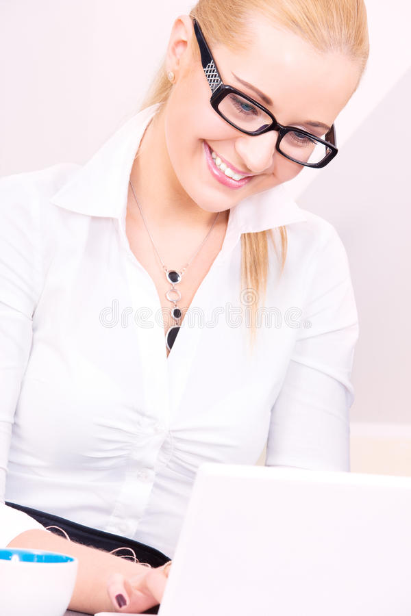 Download Happy Businesswoman With Laptop Computer Stock Image - Image: 41507911