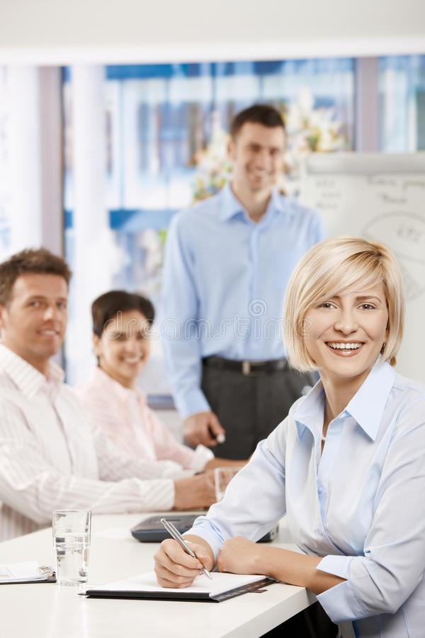 Happy Businesswoman On Meeting Stock Photography