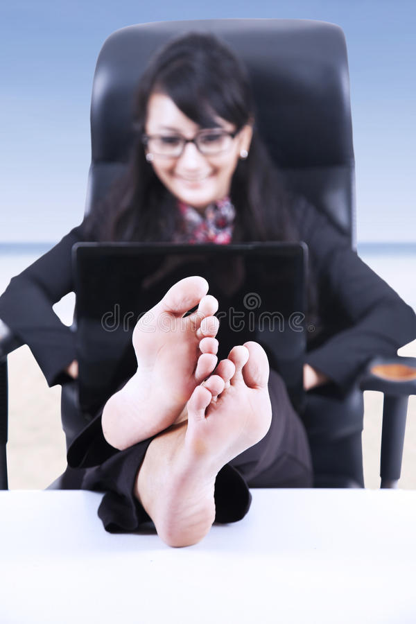 Download Happy Businesswoman Relax At Beach Stock Image - Image: 31715681