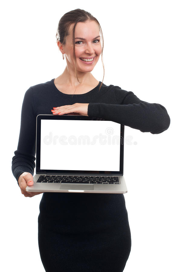 Happy businesswoman showing blank laptop screen. Over white background. Looking at camera royalty free stock images
