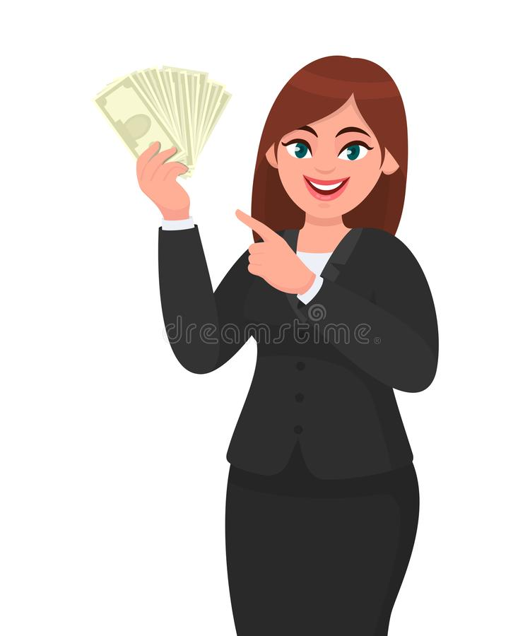 Happy businesswoman showing or holding cash, money, dollar, currency notes in hand and pointing, gesturing hand. Modern lifestyle. royalty free illustration