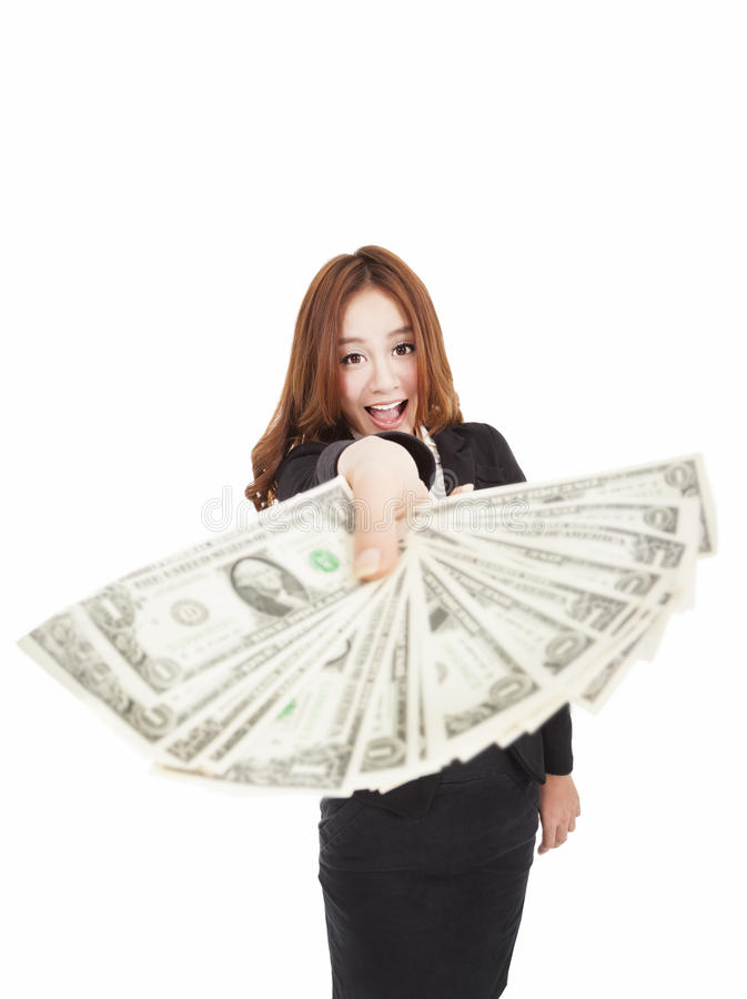 Happy businesswoman showing the money stock photography