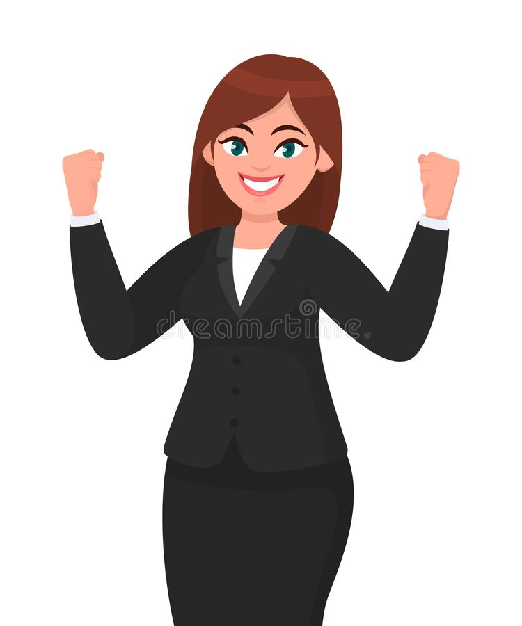Happy businesswoman showing or raising her fists expressing success gesture. Businesswoman`s emotion and body language concept. royalty free illustration
