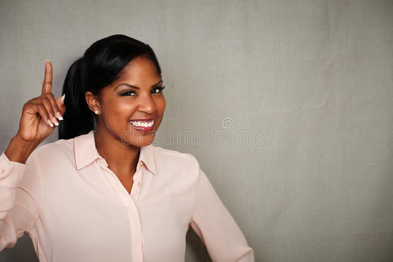 Happy businesswoman toothy smiling at the camera stock image