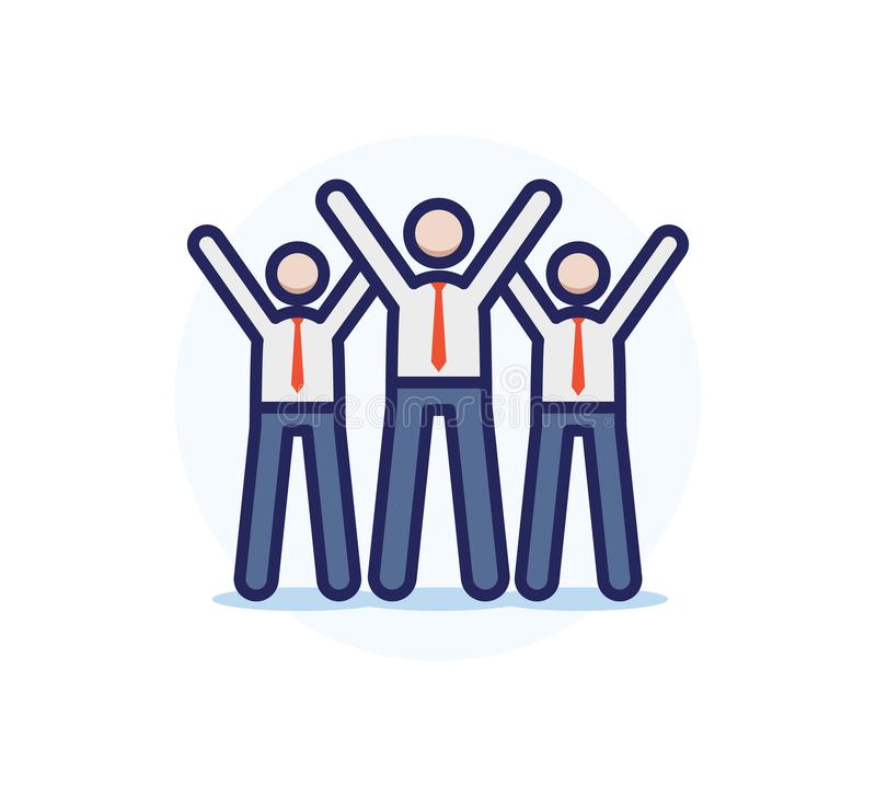 Happy bussiness team celebrating and cheering with arms up. Vector trendy filled outline icon illustration design. Teamwork sucess stock illustration