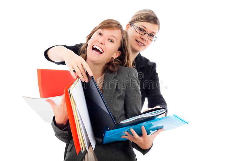 Happy busy business women team royalty free stock photos