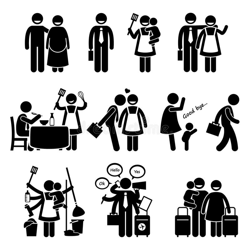 Happy Busy Family Husband and Wife Cliparts vector illustration