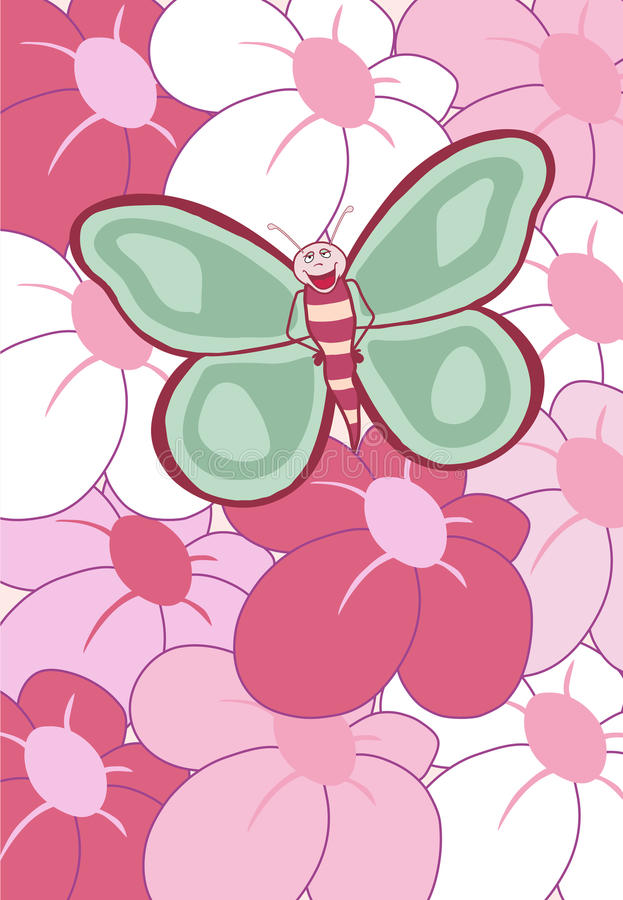 Happy Butterfly Colorful Flowers Vector stock photo
