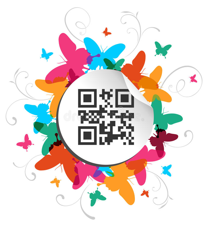 Happy butterfly spring time with qr code label stock illustration