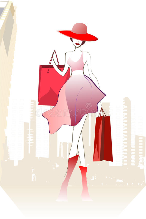 Download Happy buyer in hat stock illustration. Image of shopping - 12549961