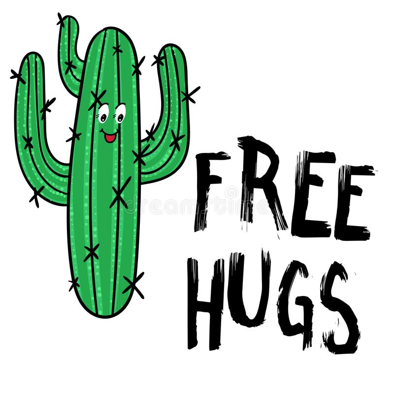 Happy Cactus with message Free hugs. Modern fashion background. royalty free illustration