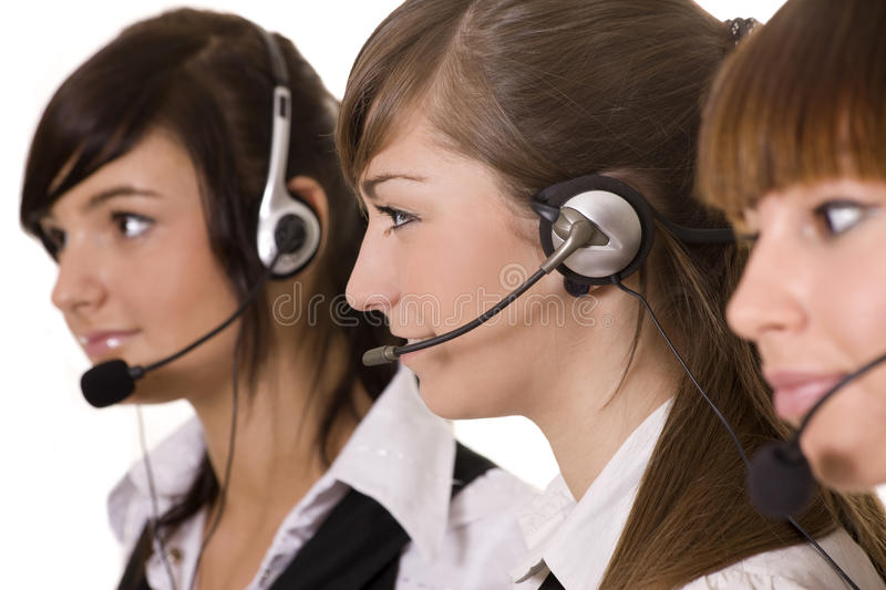 Happy call center royalty free stock photography