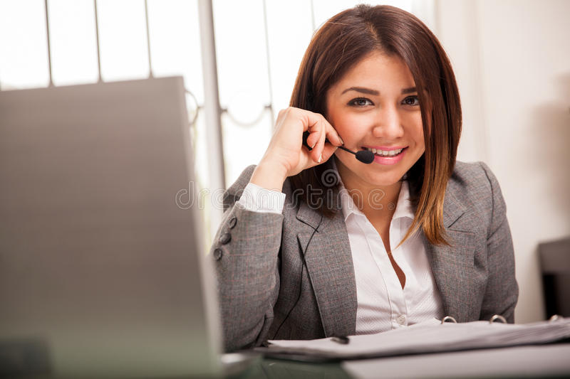 Happy call center rep royalty free stock photo