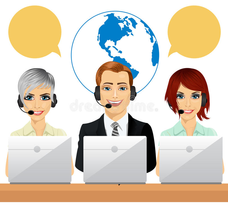 Happy call centre agents talking on headsets using laptops stock illustration