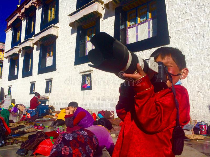 happy with the camera tibetan girls royalty free stock image