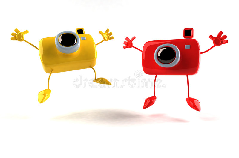 Happy cameras. For good photos ! 3d generated stock illustration