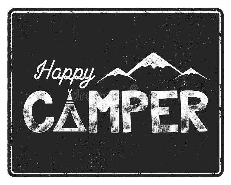 Download Happy Camper Poster Template Tent Mountains And Text Sign Retro Monochrome Design