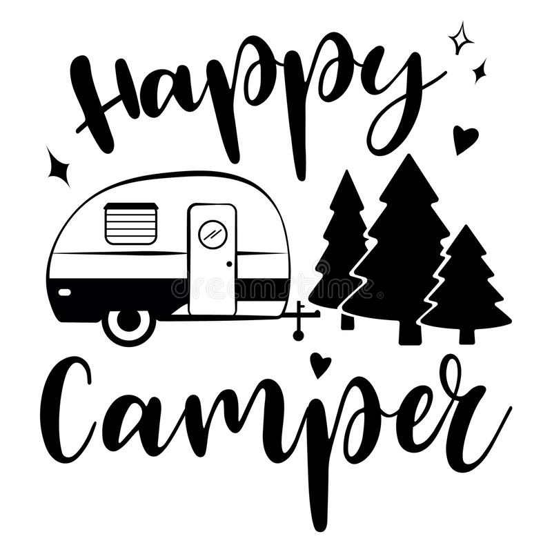 Happy Camper vector download.  Mobile recreation. Happy Camper trailer in sketch silhouette style. Happy Camper vector download. Mobile recreation. Happy Camper royalty free illustration