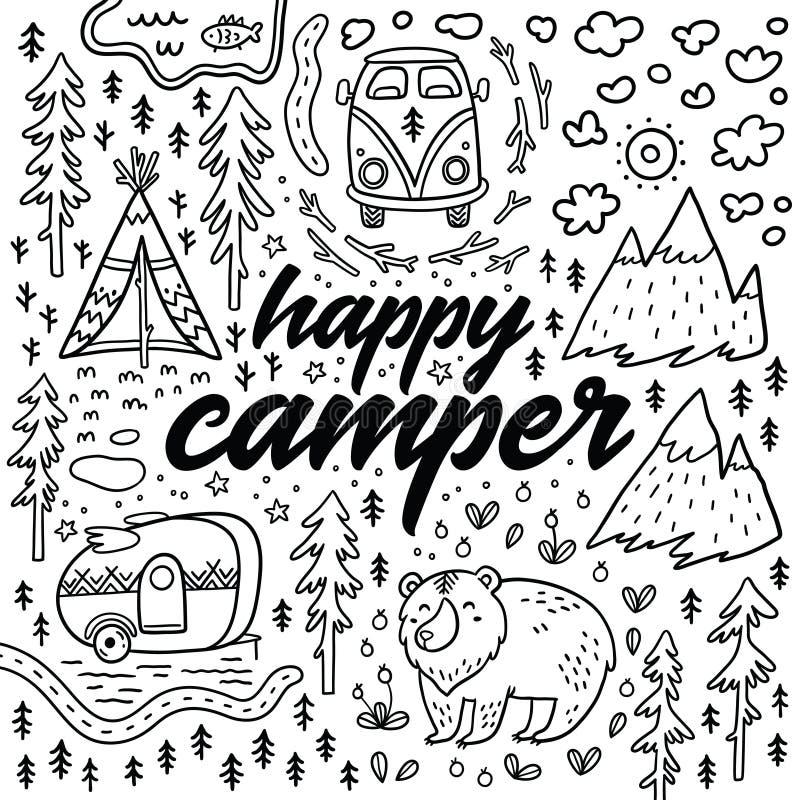 Download Happy Camper Vector Hand Drawn Card Cartoon Camping Print Stock
