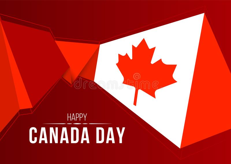 Happy Canada Day banner with abstract modern shape low poly canada flag on red background vector design royalty free illustration