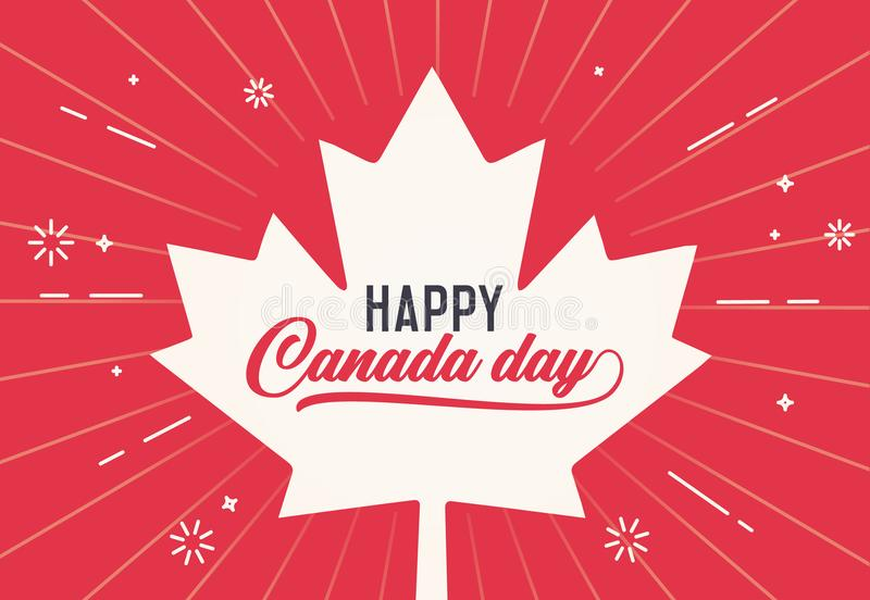 Happy Canada Day, first of july. Vector background illustration. Canadian flag colors and shapes. Retro style. With calligraphic text and firework elements vector illustration