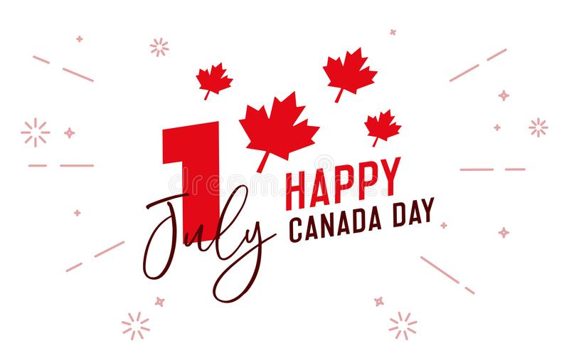 Happy Canada Day, first of july. Vector typographic design illustration. Canadian flag colors and maple leaf shape. stock illustration